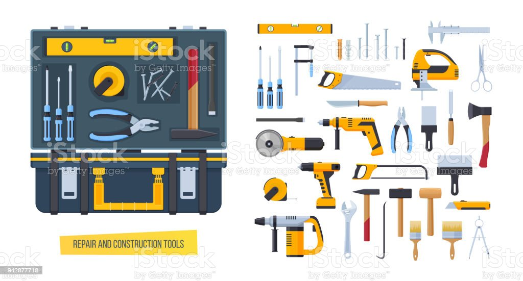 repair construction tools working case with tools for measuring dismantling royalty free