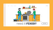 istock Repair Home Technics Service Landing Page Template. Man Electrician Character in Uniform Holding Wrench for Fixing Broken Oven to Customer. Husband for Hour. Linear Vector People Vector Illustration 1225363724
