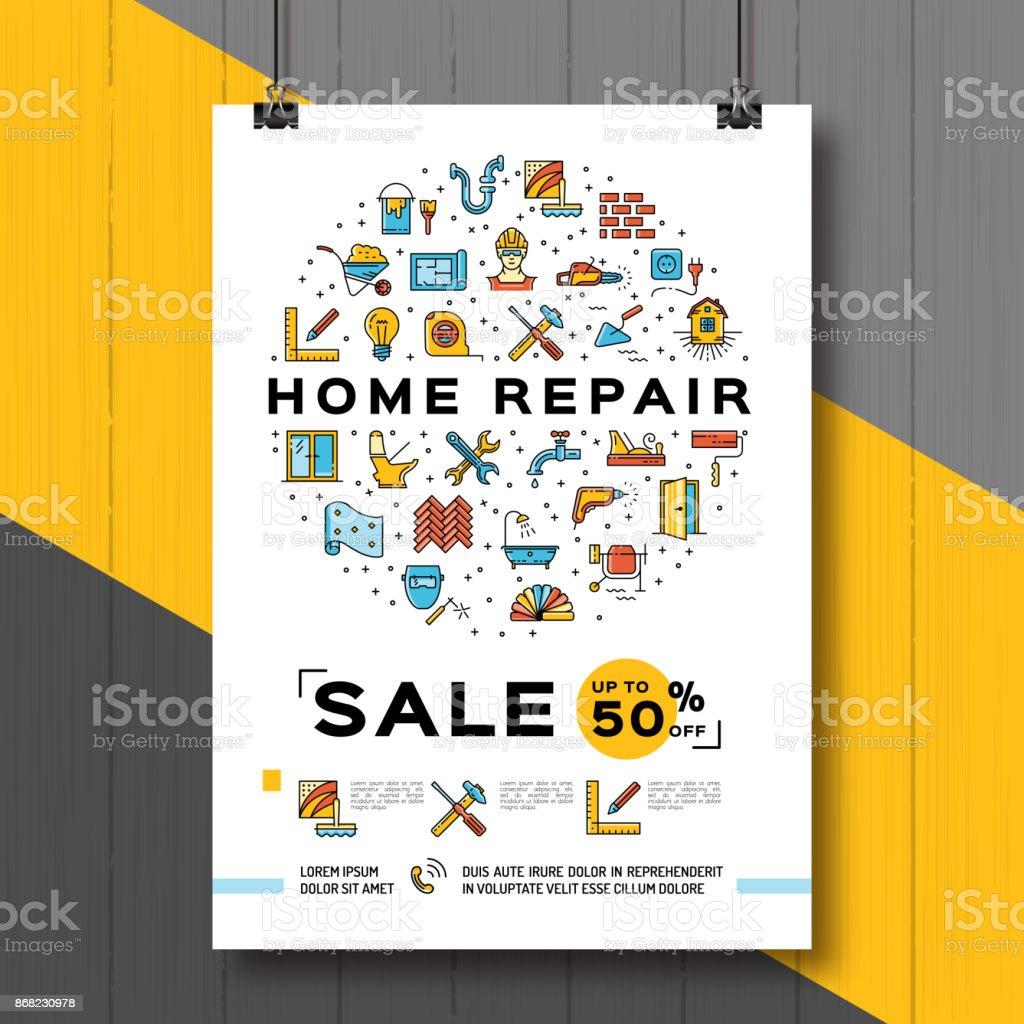 Repair House Poster, Renovation Home template. Sale flyer, Vector flat illustration, line icons vector art illustration