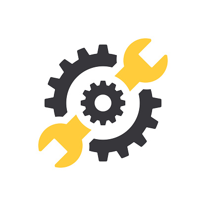 Repair icon. Wrench and gears. Spanner and cog, cogwheel. Vector Illustration