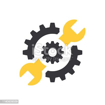 istock Repair icon. Wrench and gears. Spanner and cog, cogwheel. Vector Illustration 1160639339