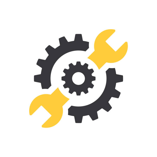Repair icon. Wrench and gears. Spanner and cog, cogwheel. Vector Illustration Repair icon. Wrench and gears. Spanner and cog, cogwheel. Vector Illustration work tool stock illustrations