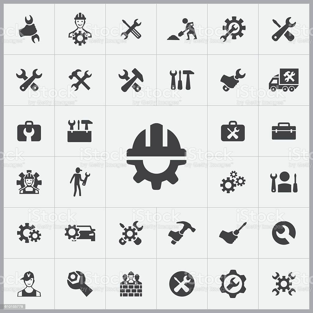 repair icons universal set vector art illustration