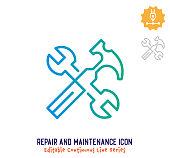 istock Repair & Maintenance Continuous Line Editable Icon 1250537866