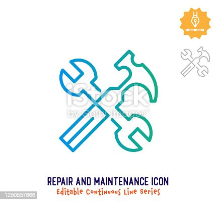 istock Repair & Maintenance Continuous Line Editable Icon 1250537866