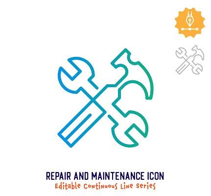 Repair & Maintenance Continuous Line Editable Icon