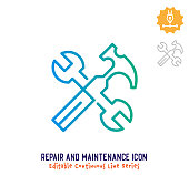Repair and maintenance vector icon illustration for logo, emblem or symbol use. Part of continuous one line minimalistic drawing series. Design elements with editable gradient stroke.