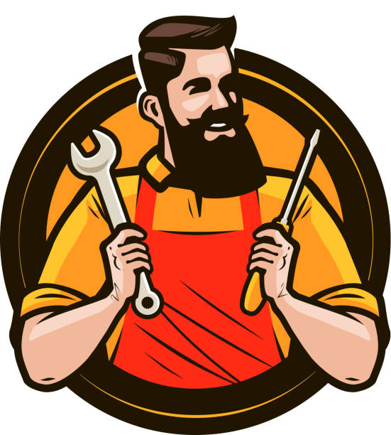 repair, maintenance logo or label. repairman holds in hands tools a wrench and screwdriver. cartoon vector illustration - handyman stock illustrations