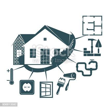 Repair Of A Housing Symbol For Business Stock Vector Art More