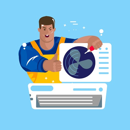 Repair of air conditioners. Maintenance and installation, cleaning of cooling systems. ector Illustration flat cartoon