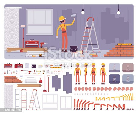 Repair of apartments workplace interior, worker painting walls creation kit, professional internal decoration set, constructor elements to build own design. Cartoon flat style infographic illustration