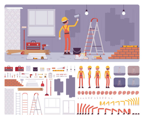 Repair of apartments, workplace interior construction set Repair of apartments workplace interior, worker painting walls creation kit, professional internal decoration set, constructor elements to build own design. Cartoon flat style infographic illustration diy stock illustrations