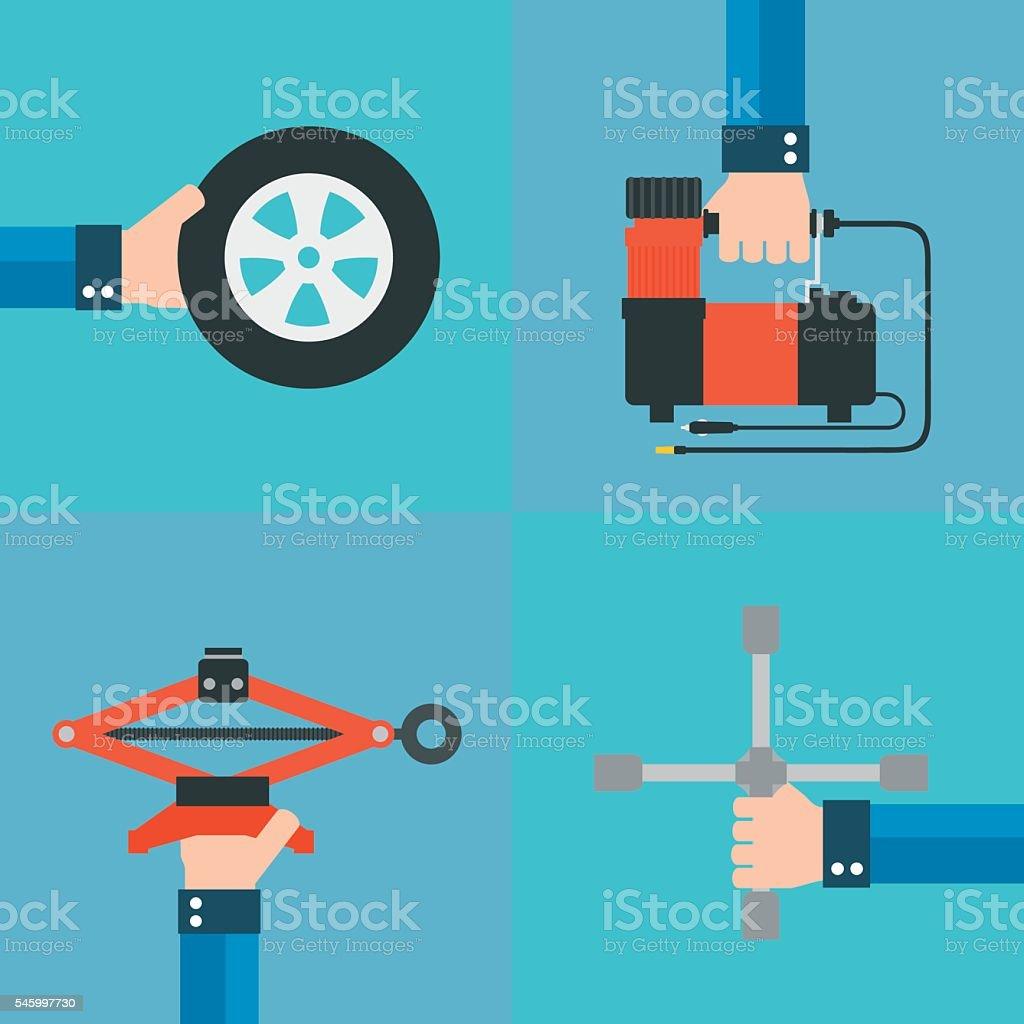 Repair of automobile wheels flat design vector art illustration