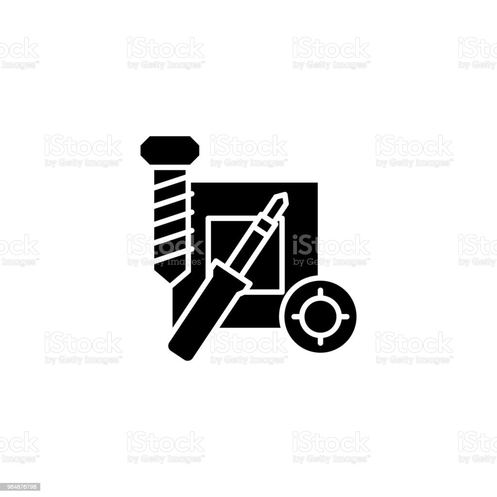 Repair of electronics black icon concept. Repair of electronics flat  vector symbol, sign, illustration. royalty-free repair of electronics black icon concept repair of electronics flat vector symbol sign illustration stock vector art & more images of backgrounds