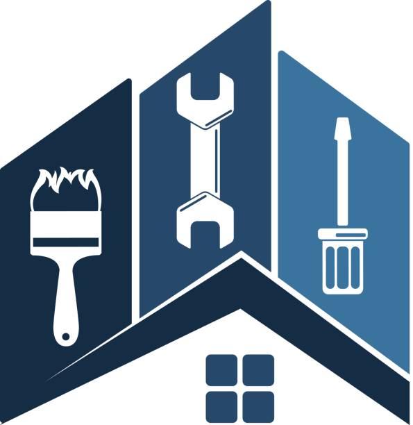reparatur von home-symbol - handwerker stock-grafiken, -clipart, -cartoons und -symbole