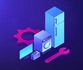 Broken fridge, washing machine, TV and toaster repair. Repair of household appliances, smart TV service, household master services concept. Ultraviolet neon vector isometric 3D illustration.