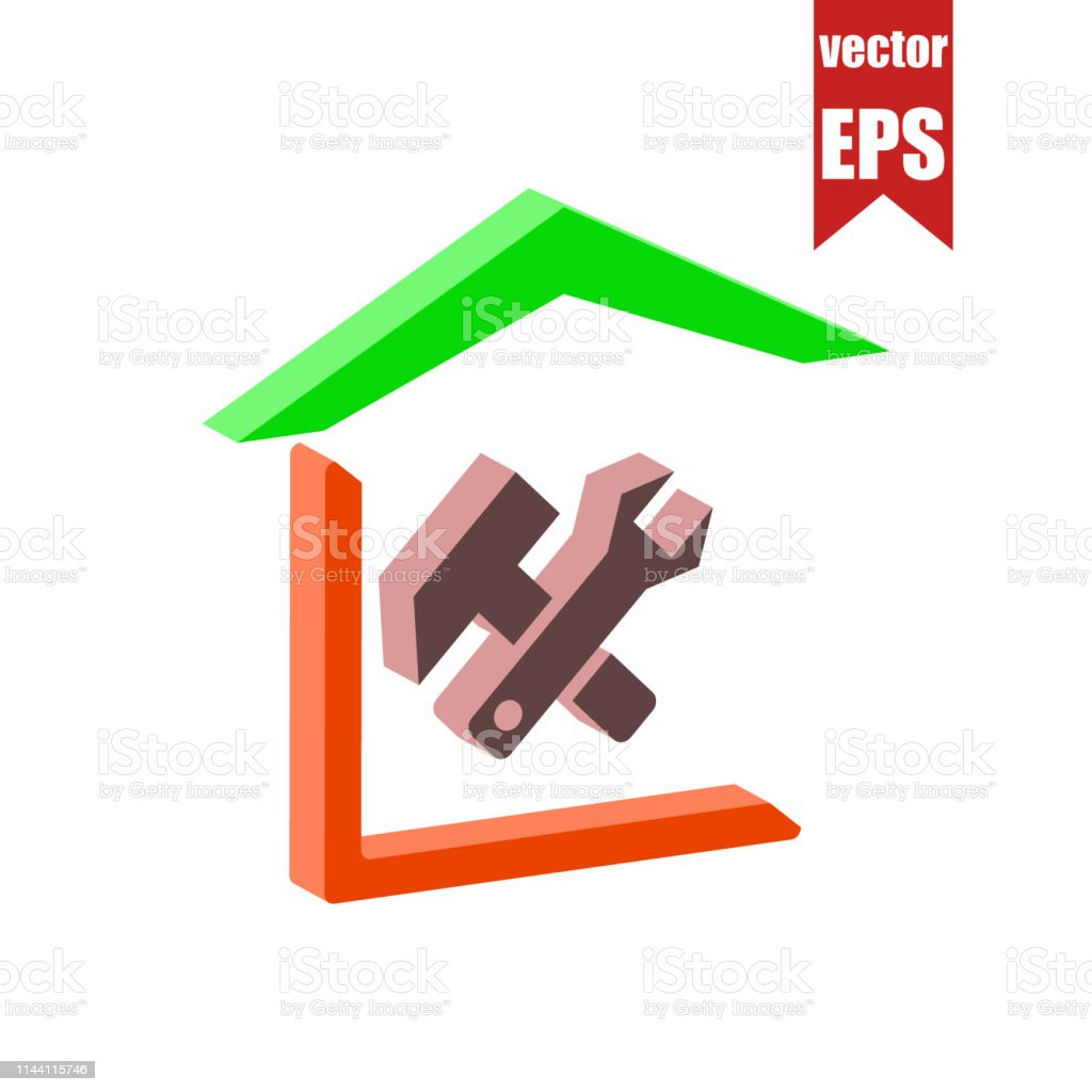 Repair Of Houseshome Master Iconisometric And 3d View Stock