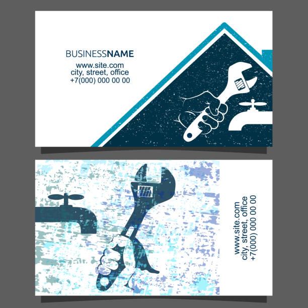 repair plumbing business card - tap water stock illustrations