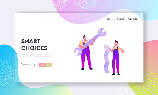 Repair Service Call Master Landing Page Template. Tiny Men Characters in Overalls Holding Huge Wrench and Paper Sheet. Handymen Fixing Broken Technics at Home. Cartoon People Vector Illustration