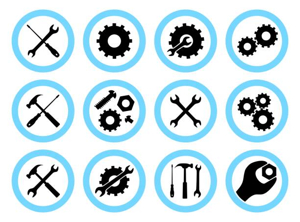Repair service concept. Simple icons set: wrench, screwdriver, hammer and gear. Services icon or button isolated on white background. Vector illustration. Repair service concept. Icons set: wrench, screwdriver, hammer, screw, nut, bolt and gear. Services icon or button isolated on white background. Vector illustration. gearshift stock illustrations