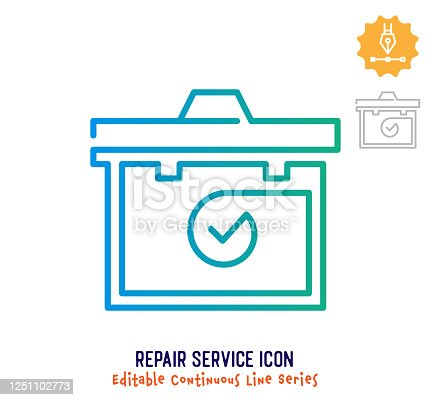 Repair service vector icon illustration for logo, emblem or symbol use. Part of continuous one line minimalistic drawing series. Design elements with editable gradient stroke line.