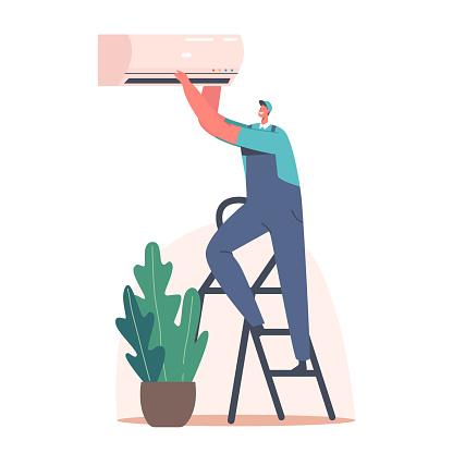 Repair Service Handyman Character Fixing Broken Conditioner at Home or Office. Husband for an Hour Fix Broken Technics