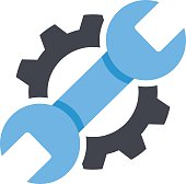 Repair service icon. Black cog, blue wrench icon. Repair logo