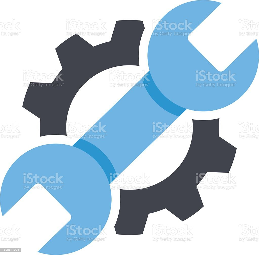 Repair service icon. Black cog, blue wrench icon. Repair logo vector art illustration