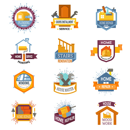 Repair service professional plumber company emblem different tools badge home accessories repairing vector illustration