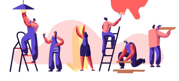 Repair Service Professional Worker. Woman on Ladder Paint Wall Roller in Hand. Human Glues Wallpaper. Man Lay Laminate Floor and Keep Hand Drill. Change Light Bulb. Flat Cartoon Vector Illustration Repair Service Professional Worker. Woman on Ladder Paint Wall Roller in Hand. Human Glues Wallpaper. Man Lay Laminate Floor and Keep Hand Drill. Change Light Bulb. Flat Cartoon Vector Illustration renovation stock illustrations