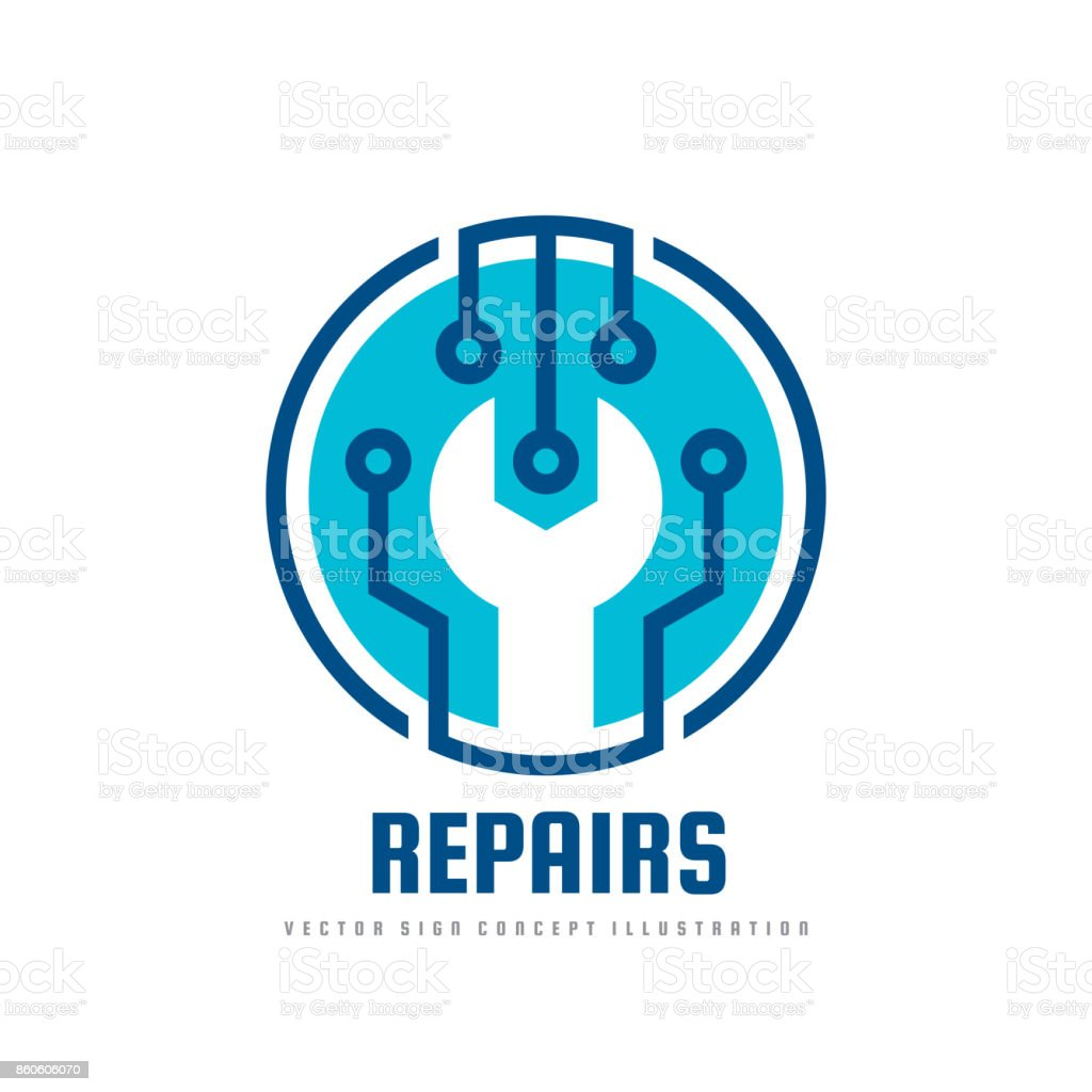 repair service vector sign template concept illustration wrench