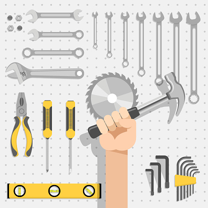 Repair tool panel containing saw, hammer, wrench, level gauge, pliers and screwdriver