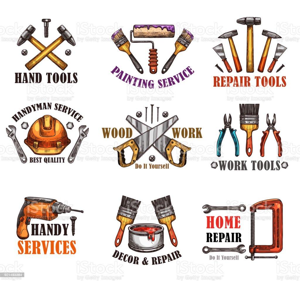 Esboço de ferramenta de reparação para o projeto de construção de casa - ilustração de arte em vetor
