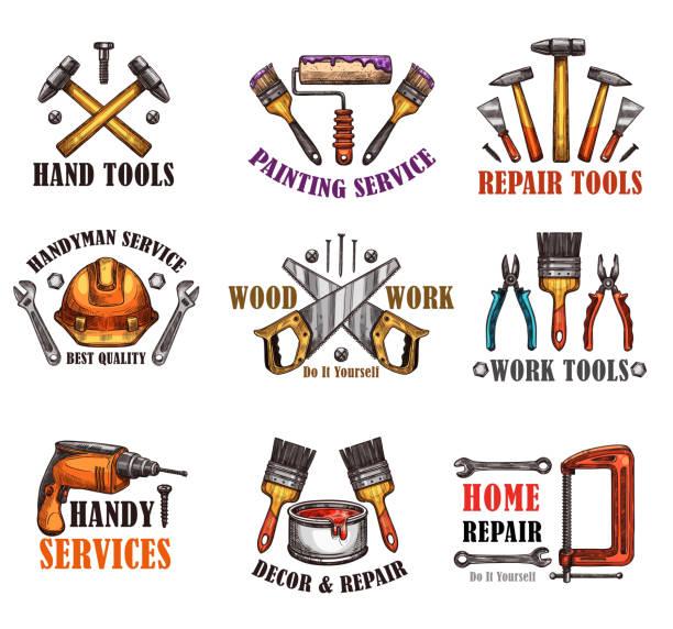 reparatur werkzeug skizze für hausbau-design - handwerker stock-grafiken, -clipart, -cartoons und -symbole
