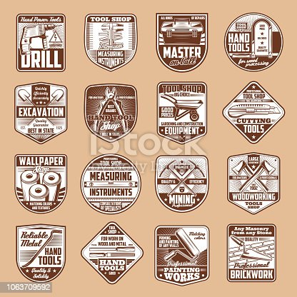 Tools vector icons with hammer, drill and ruler, spanner, paint roller and saw, axe, toolbox and trowel, pickaxe and shovel on vintage shield. Construction, carpentry, house repair and mining industry