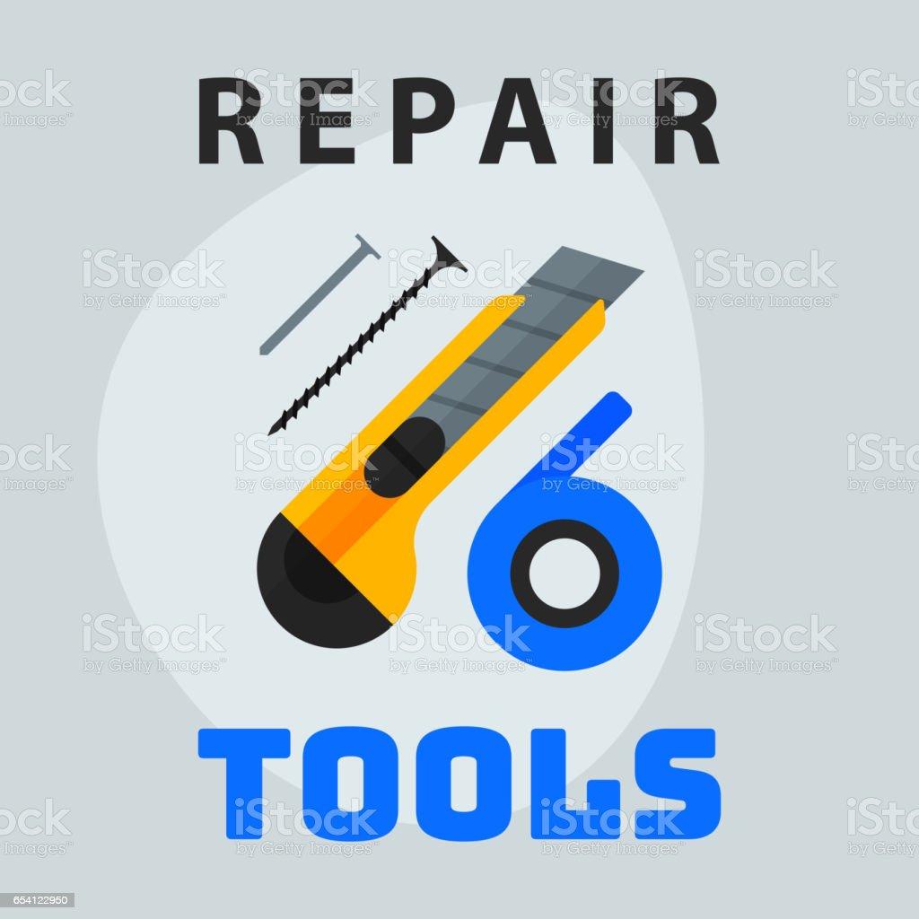 Reparatur Tools Messer Band Nägel Symbol Kreativen Grafikdesign Logo ...