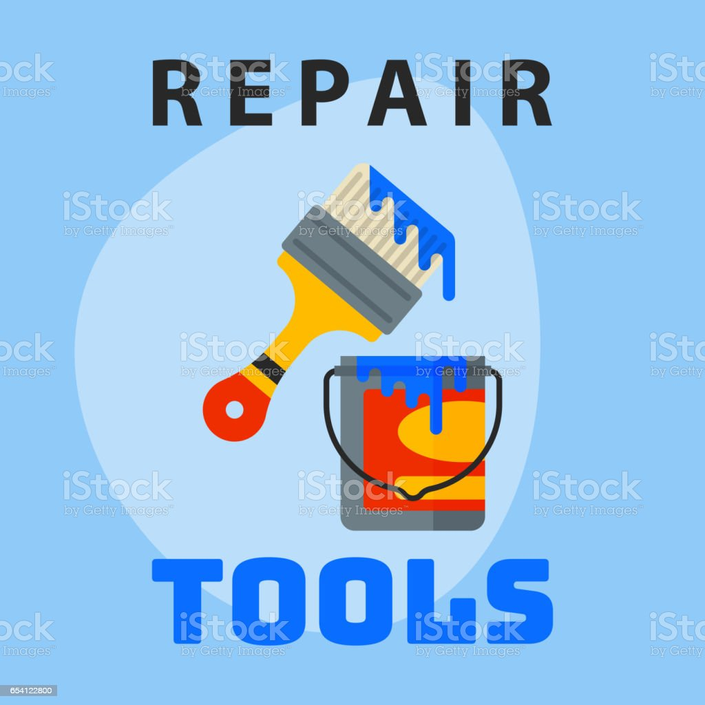 Repair Tools Paint Bucket Brush Icon Creative Graphic Design Logo Element  And Service Construction Work Business Maintenance Equipment Vector