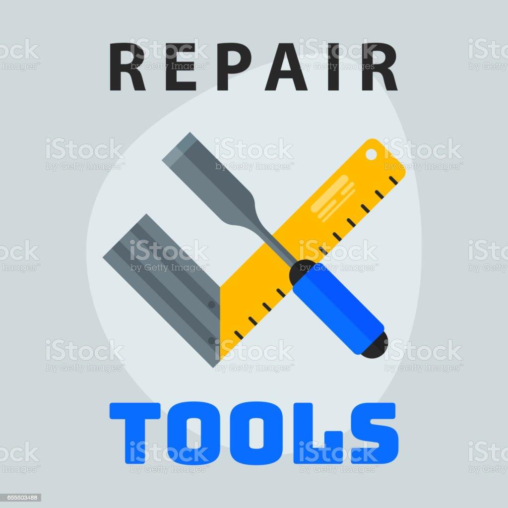 Reparatur Von Werkzeugen Lineal Schraubendreher Symbol Kreative ...