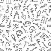 istock Repair tools thin line seamless pattern background 1269403954