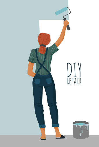 DIY repair. Woman painting a wall with a paint roller. Cute vector illustration.
