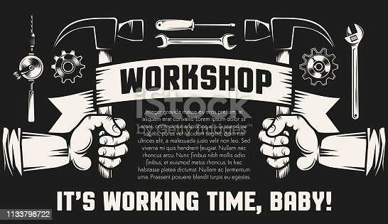 Repair workshop with hands and working tools - hammers,  spanner,  screwdriver. Black background, retro style.