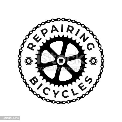Repairing Bicycles Badge with Chain and Gear on the White Background