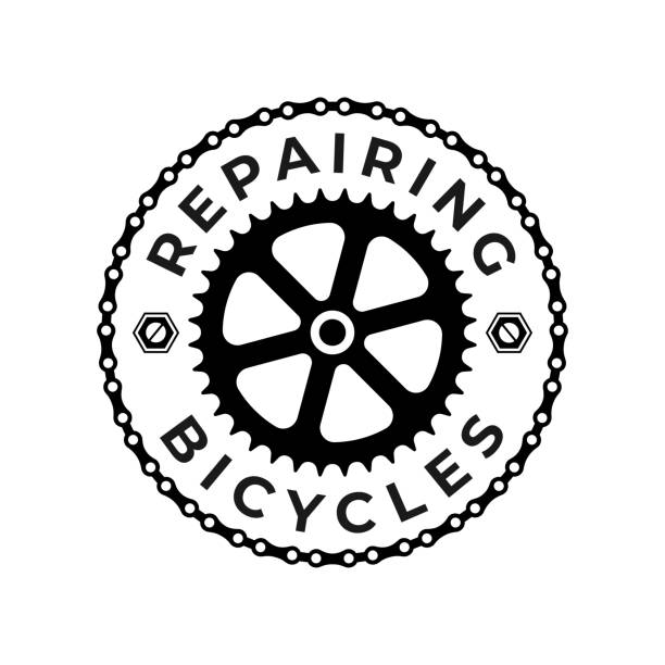 Repairing Bicycles Badge Repairing Bicycles Badge with Chain and Gear on the White Background bicycle chain stock illustrations