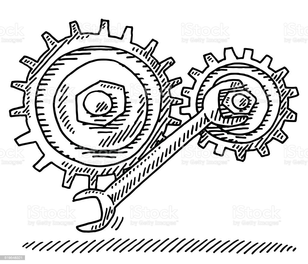 Repairing Gears Wrench Tool Drawing Stock Vector Art & More Images ...