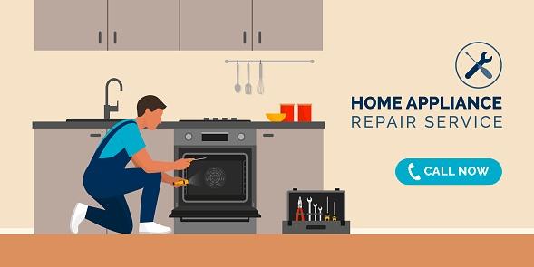 Repairman fixing appliances at home