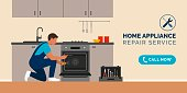 istock Repairman fixing appliances at home 1275781231