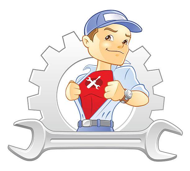 repairman, handyman, mechanic super hero with wrench and gear - mechanic stock illustrations, clip art, cartoons, & icons