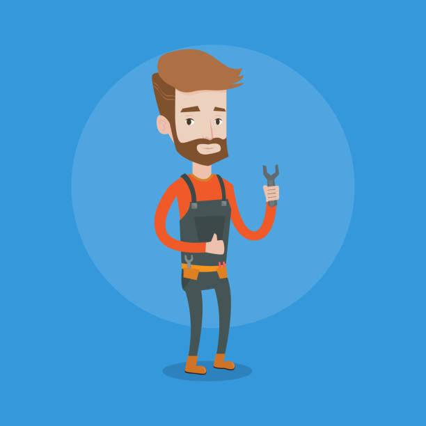 mechaniker mit schraubenschlüssel-vektor-illustration - abgeordnetenhaus stock-grafiken, -clipart, -cartoons und -symbole