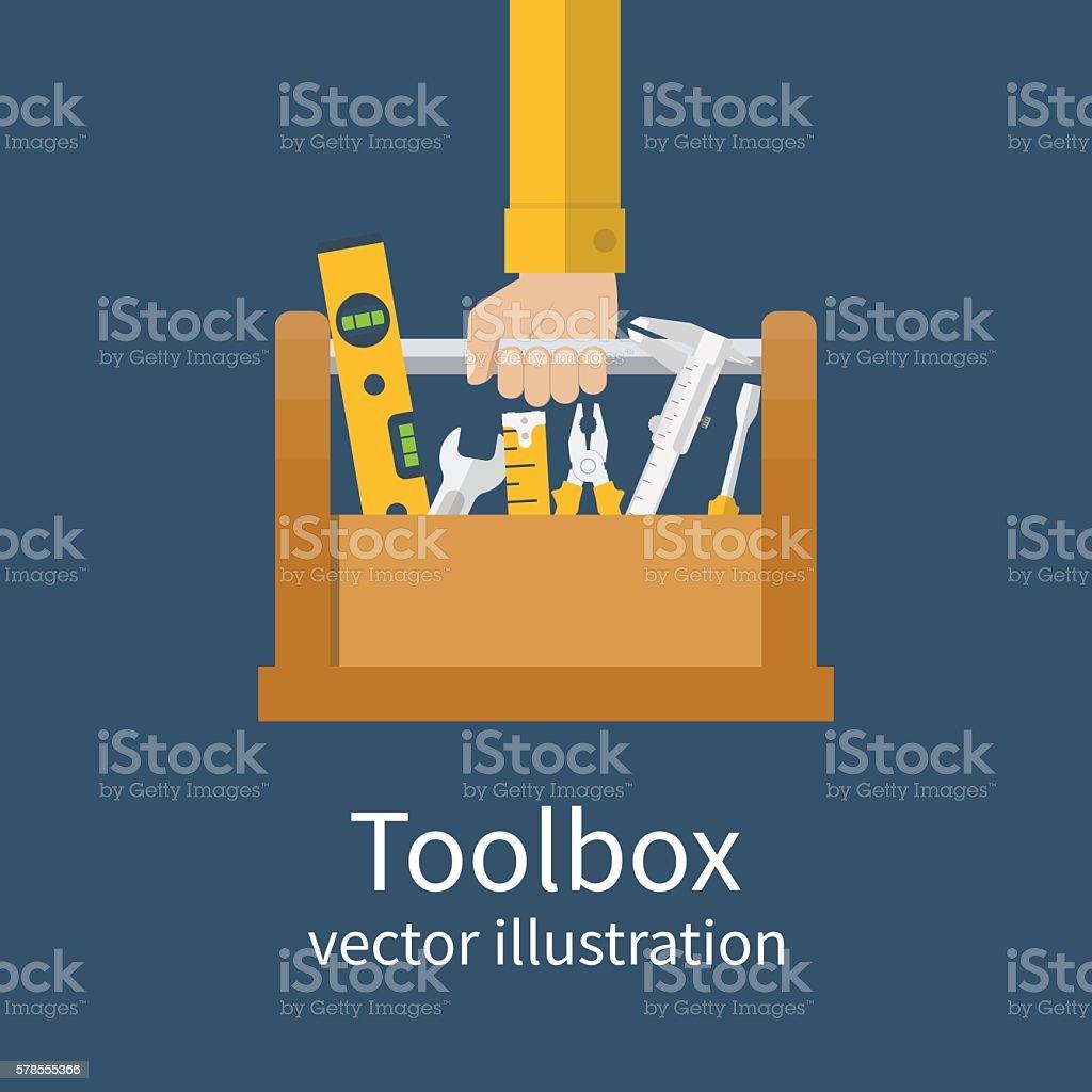 Consertador com caixa de ferramentas - ilustração de arte em vetor