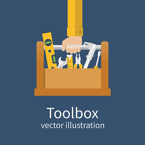 repairman holding toolbox - handyman stock illustrations